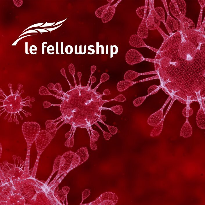 COVID-19 virus cells and Fellowship logo